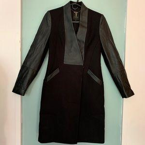 Ted Baker Nexie Wool Coat 1 (US 4) Leather Sleeves